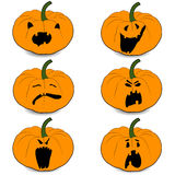 Wektorowej halloweens bani ustalone ilustracyjne ikony ilustracja wektor