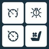 Wektorowej ilustraci deski rozdzielczej Ustalone Samochodowe ikony Elementu szybkościomierz, zewnętrzny żarówki niepowodzenie, re zdjęcia royalty free