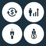 Wektorowej ilustraci Ustalone Biznesowe ikony Elementu pieniądze konwertyta, istot ludzkich postacie jako narastający wykres, biz ilustracji
