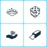 Wektorowej ilustraci Ustalone Kasynowe ikony Elementy Las Vegas, kostka do gry gra, układy scaleni i tasowanie maszyny ikona na r royalty ilustracja