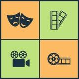 Wektorowej ilustraci Ustalone Kinowe ikony Elementy maski, filmu, filmu i wideo ekranowa ikona, ilustracja wektor