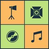 Wektorowej ilustraci Ustalone Kinowe ikony Elementy popkornu, filmu i Ekranowej rama z gwiazdową ikoną szkła, Tv, 3d, royalty ilustracja