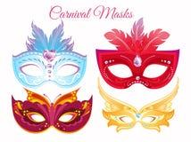 Wektorowej ilustraci ustalone venetian malować karnawałowe twarzowe maski Maski dla przyjęcia dekorowali z jaskrawy kolorowym royalty ilustracja