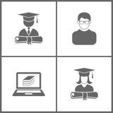 Wektorowej ilustracji edukacji Ustalone Biurowe ikony Elementy skalowanie nakrętka i dyplom uczeń, avatar, ebooks i skalowanie, c ilustracja wektor