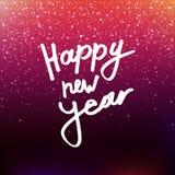 Wektorowej ilustracyjnej kaligrafii Szczęśliwy nowy rok zamazujący tło Inskrypcja na kartka z pozdrowieniami Różowi cekiny, confe ilustracji