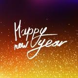 Wektorowej ilustracyjnej kaligrafii Szczęśliwy nowy rok zamazujący tło Inskrypcja na kartka z pozdrowieniami Złoci cekiny, confet royalty ilustracja