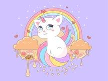 Wektorowej ilustracyjnej kot jednorożec piękna słodka opowieść ilustracji