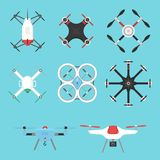 Wektorowej ilustracyjnej powietrznej pojazdu trutnia quadcopter inwigilaci radia pilot do tv komarnicy lotnicza unosi się narzędz ilustracja wektor