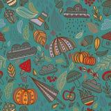 Wektorowej jesieni bezszwowy deseniowy turkusowy tło royalty ilustracja