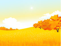 Wektorowej jesieni wiejski krajobraz z łąką i Obrazy Stock