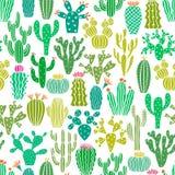 Wektorowej Kaktusowej rośliny Bezszwowy wzór Kaktusa kwiatu tło, druk royalty ilustracja