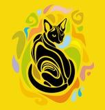 Wektorowej kot Kolorowej kreskówki Dekoracyjny graficzny projekt Zdjęcie Royalty Free