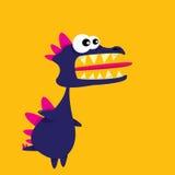 Wektorowej kreskówki śmieszny smok kreskówki dinosaura odosobniony biel ilustracja wektor