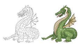 Wektorowej kreskówki śmieszny smok z rogami i skrzydłami wtyka za jęzorze ilustracji