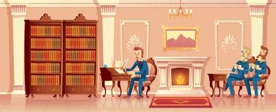 Wektorowej kreskówki żywy pokój z dżentelmen firmą ilustracji