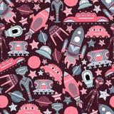Wektorowej kreskówki bezszwowy wzór z płaskimi obcymi, statkami kosmicznymi, planetami, satelitami i kosmonautą, ilustracja wektor