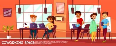 Wektorowej kreskówki coworking przestrzeń z ludźmi ilustracja wektor