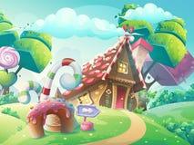 Wektorowej kreskówki cukierku ilustracyjny słodki dom