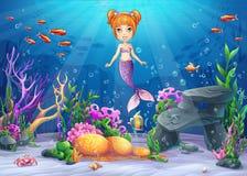 Wektorowej kreskówki ilustracyjny podwodny świat ilustracja wektor