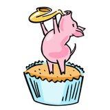 Wektorowej kreskówki jazzowa świnia z saksofonem i słodka bułeczka royalty ilustracja
