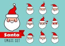 Wektorowej kreskówki mieszkania linii Święty Mikołaj emoji prosty set śliczny i ilustracja wektor