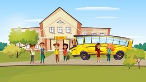 Wektorowej kreskówki nastoletni dzieciaki zbliżają autobus szkolnego ilustracji
