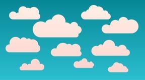 Wektorowej kreskówki płaski kształt chmurnieje set odizolowywającego na błękitnym tle Abstrakcjonistyczny cloudscape, niebo i nie royalty ilustracja