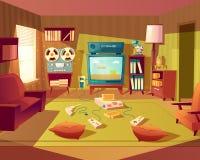 Wektorowej kreskówki retro pokój z wideo grami ilustracji