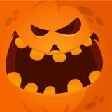 Wektorowej kreskówki twarzy Śmieszny Halloweenowy Dyniowy ono Uśmiecha się 189avatar royalty ilustracja