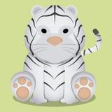 Wektorowej kreskówki Śliczny Mały Biały Tygrysi obsiadanie Odizolowywający Zdjęcie Royalty Free