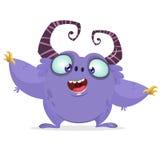 Wektorowej kreskówki purpurowy potwór z dużymi rogami Halloweenowy owłosiony fiołkowy potwór Obrazy Royalty Free