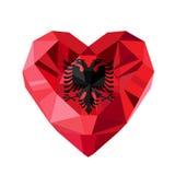 Wektorowej krystalicznej klejnot biżuterii Albański serce z flaga Albania Zdjęcia Royalty Free