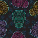 Wektorowej Meksykańskiej czaszki Bezszwowy wzór Fotografia Royalty Free
