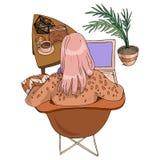 Wektorowej mody dziewczyny ilustracyjny widok od plecy z kawy, notatnika obsiadaniem na krześle w kawiarni w i ilustracji