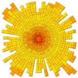 Wektorowej mozaiki czerwony słońce z promieniami. Royalty Ilustracja