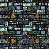 Wektorowej nakreślenie koszykówki bezszwowy wzór Retro, grunge, rysunku literowanie, ulubiony sport, iść, ty wygrywasz, trzaska w zdjęcie royalty free