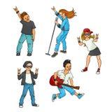 Wektorowej płaskiej muzyki rockowej nastoletni ludzie ustawiający ilustracja wektor