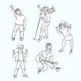 Wektorowej płaskiej muzyki rockowej nastoletni ludzie ustawiający ilustracji