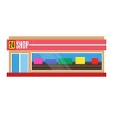 Wektorowej płaskiej projekt restauraci sklepu ikony sklepu miasta fasadowej gabloty wystawowej uliczna zewnętrzna nadokienna arch Royalty Ilustracja