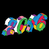Wektorowej patchwork kolorowej ręki nowy rok rysunkowy kartka z pozdrowieniami Zdjęcia Royalty Free