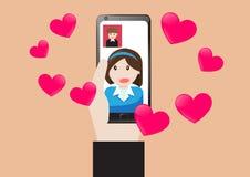Wektorowej pojęcie technologii wideo komunikacyjny wezwanie dla miłości ilustracja wektor