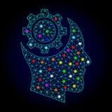 Wektorowej Poligonalnej siatki intelekta Ludzka przekładnia z świecenie punktami dla Chistmas royalty ilustracja