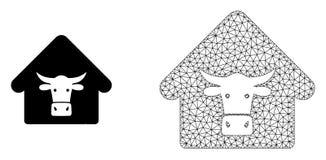 Wektorowej Poligonalnej siatki krowy Rolna i Płaska ikona ilustracji