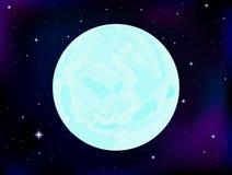 Wektorowej przestrzeni ilustracja z księżyc w pełni na kosmosie i gwiaździstym nieba tle Zdjęcia Stock
