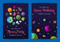 Wektorowej przestrzeni przyjęcia urodzinowego zaproszenia szablony z astronautycznymi elementami, planetami i statkami, royalty ilustracja