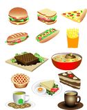 Wektorowej Różnorodnej kanapki śniadaniowi Foods Ilustracyjni ilustracji