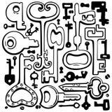 Wektorowej ręki rysunkowi klucze. Obrazy Royalty Free