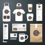 Wektorowej restauracyjnej kawiarni ustalona ulotka, menu, pakunek, koszulka, nakrętka, jednolity projekt royalty ilustracja