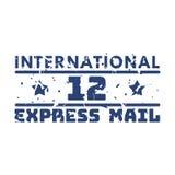 Wektorowej rocznik opłaty pocztowa poczta międzynarodowy znaczek Zdjęcie Royalty Free