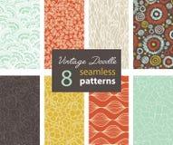 Wektorowej rocznika Doodle powtórki wzorów 8 Bezszwowy set Z Różnorodna ręka Rysować teksturami Obraz Stock